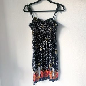 Anna Sui Black Floral Graphic Design Dress
